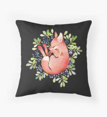 Sleeping fox and blue berries Throw Pillow