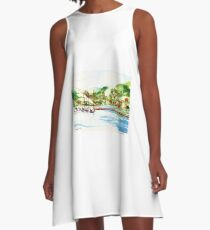 A view on the lake A-Line Dress