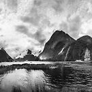 Dramatic weather at Milford Sound in black and white by Danielasphotos