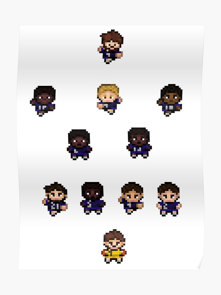 French Team World Cup Football Pixel Art Poster
