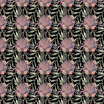 Scallop shell repeat on black by MermaidsCoin