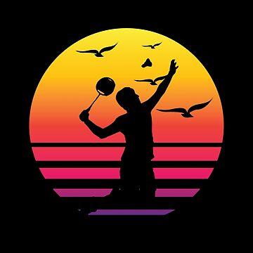 tennis retro sunset, #tennis  by handcraftline