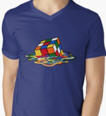 Melting Rubiks Cube: Sheldon from 'The Big Bang Theory' Cool Nerdy Gift Ideas! Men's V-Neck T-Shirt