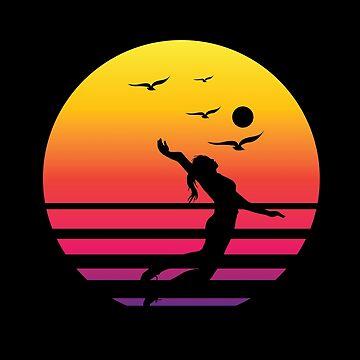 volleyball 2-01 retro sunset, #volleyball 2-01  by handcraftline