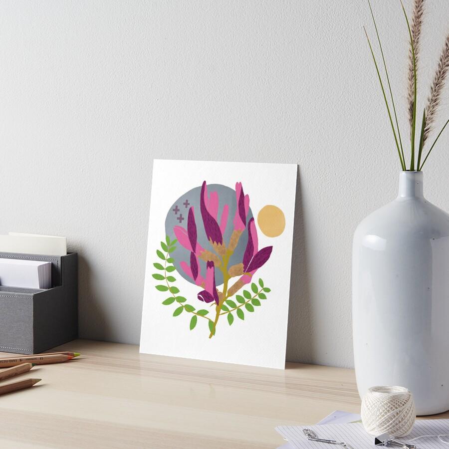 Modern Pink Flowers and Vines Art Board Print