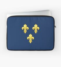 Blason France moderne French royal golden yellow fleur de lys lis blue King of France coat of arms vintage dark navy background Laptop Sleeve