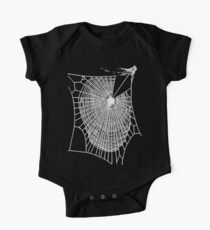 Fun Hand Drawn Spooky Halloween Spiders Web  One Piece - Short Sleeve