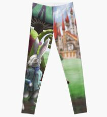 White Rabbit in the Wonderland Toadstool Forest Leggings