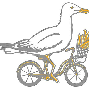 Seagull on bike by amelielegault