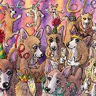 Corgi dogs at a party by SusanAlisonArt
