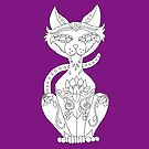Color Me Siamese Cat Sugar Skull by J-CCreations