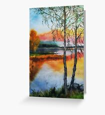 Two birch trees at sunset Greeting Card
