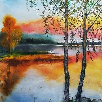Two birch trees at sunset by Anthropolog