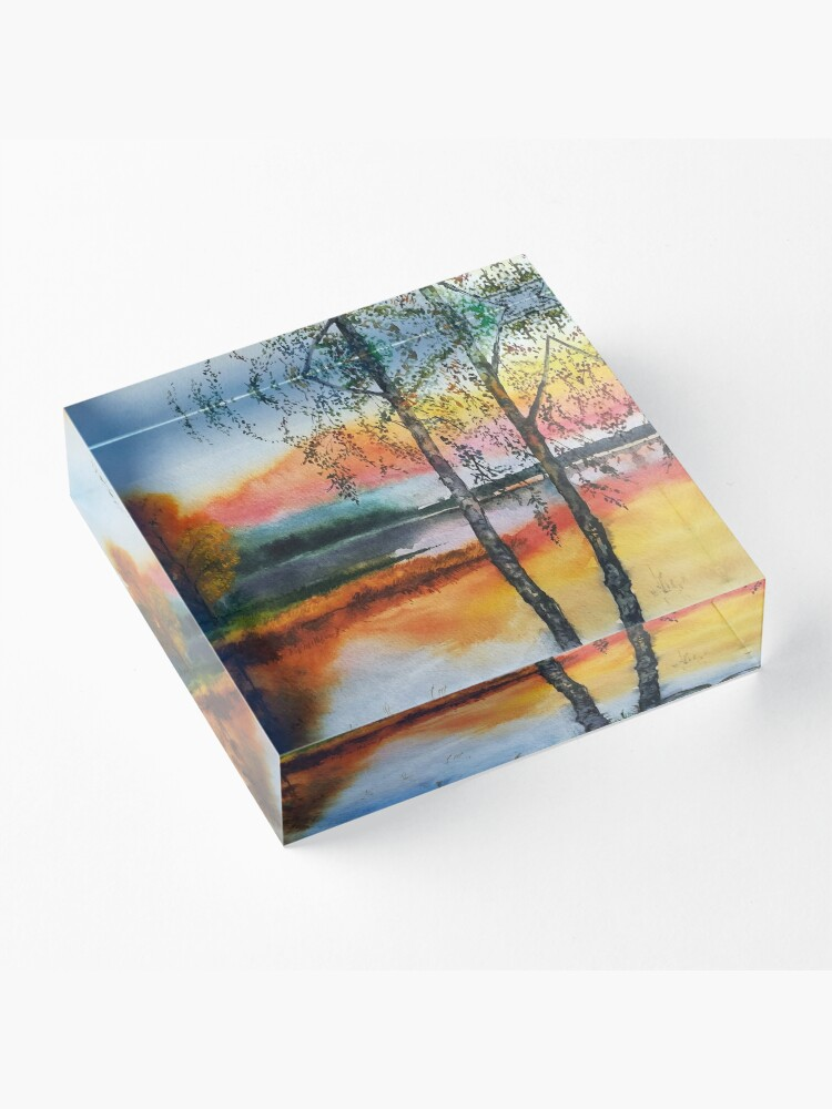 Alternate view of Two birch trees at sunset Acrylic Block
