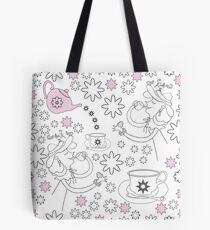 Tea Lady,Snow and Flowers-Garden Tea Party Tote Bag