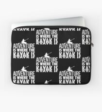 Adventure Is Where the Kayak Is Black And White Laptop Sleeve