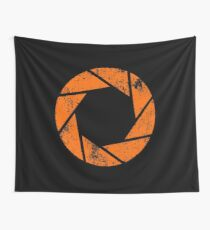 Aperture Science (Orange) Logo · Distressed Wall Tapestry