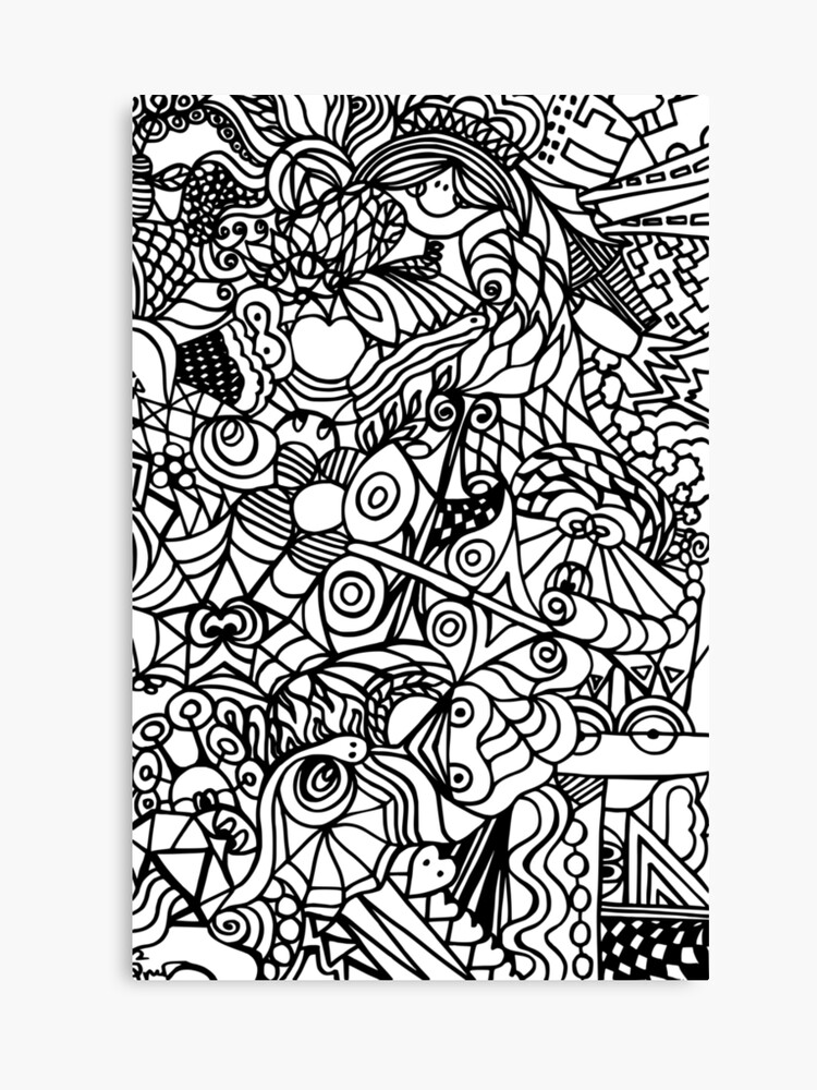 Doodling Scribble Abstract Black White Fun Pattern Canvas Print