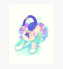 Flower Patch Cat Art Print