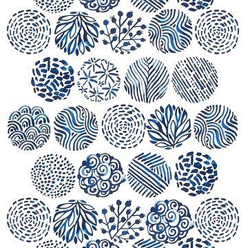 Watercolor indigo doodles by kostolom3000
