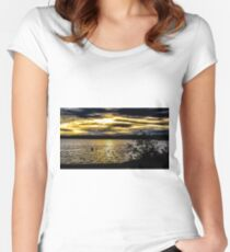 Dark sky with sunset  Women's Fitted Scoop T-Shirt