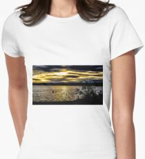 Dark sky with sunset  Women's Fitted T-Shirt