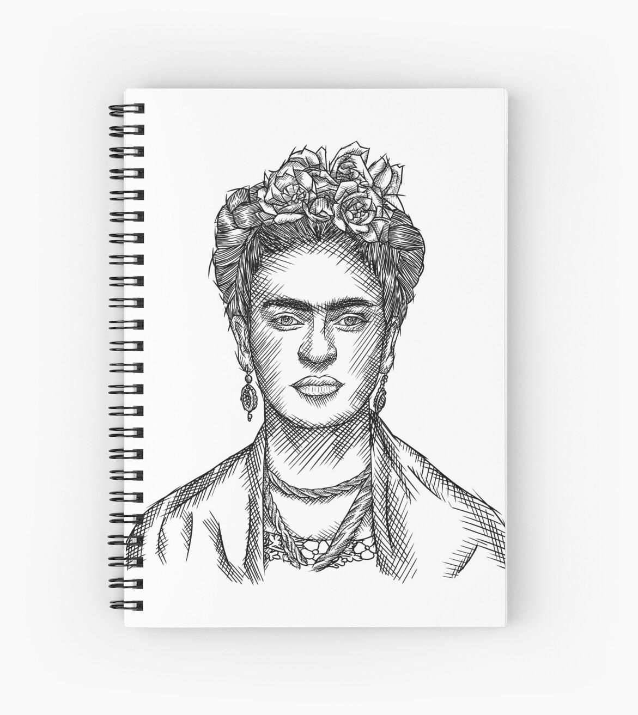 Frida kahlo sketch black white spiral notebook