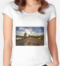 Sunset looking down bridge  Women's Fitted Scoop T-Shirt