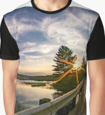 sunset looking down river with bridge  Graphic T-Shirt