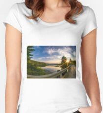 sunset looking down river with bridge  Women's Fitted Scoop T-Shirt