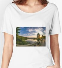 sunset looking down river with bridge  Women's Relaxed Fit T-Shirt