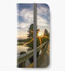 sunset looking down river with bridge  iPhone Wallet/Case/Skin