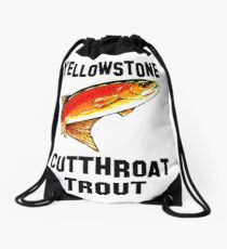 Yellowstone Cutthroat Trout Fish Fishing Fly Sports Sportman Rocky Mountain Man Cave Fisherman Dad Father Gift Ideas Char Drawstring Bag