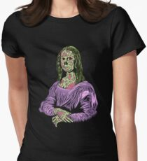 Zombie Mona Lisa Funny Graphic Art Design Women's Fitted T-Shirt