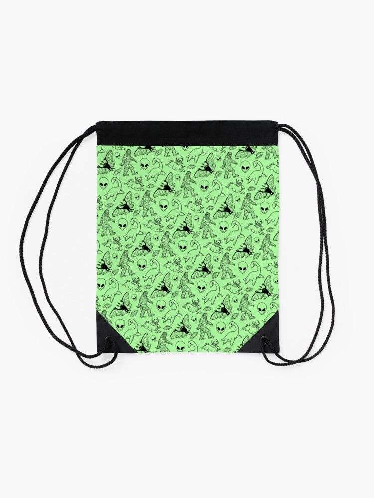 Alternate view of Cryptid Pattern (Green Background) Drawstring Bag