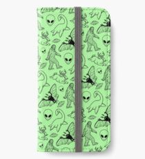 Cryptid Pattern (Green Background) iPhone Wallet/Case/Skin