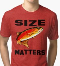 Size Matters Yellowstone Cutthroat Trout Char Fishing Fish Fly Jackie Carpenter Dad Father Husband Sports Rocky Mountain Gift Ideas Tri-blend T-Shirt