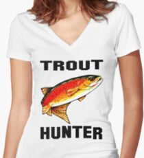 Trout Hunter Yellowstone Cutthroat Trout Char Fish Fishing Fly Gift Idea Father Dad Husband Rocky Mountain Jackie Carpenter Women's Fitted V-Neck T-Shirt