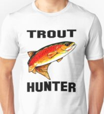 Trout Hunter Yellowstone Cutthroat Trout Char Fish Fishing Fly Gift Idea Father Dad Husband Rocky Mountain Jackie Carpenter Unisex T-Shirt