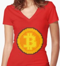 Pixel art Bitcoin coin Women's Fitted V-Neck T-Shirt