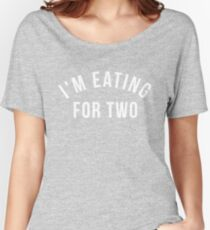 141359632e222 I'm Eating For Two Pregnancy Announcement Couples T Shirt Relaxed Fit T- Shirt