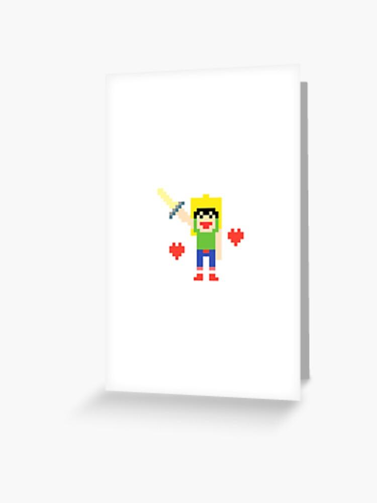 Pixel Art Minecraft Guerrier épée Coeurs Carte De Vœux