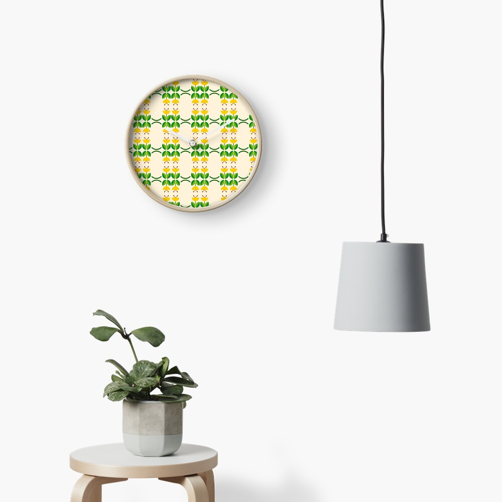 flat design floral beauty seamless colorful repeat pattern Clock