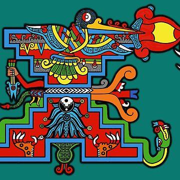 Xihuikayotl, teyaohuitzilton Xiuhpapalotemo. by tecuani122112