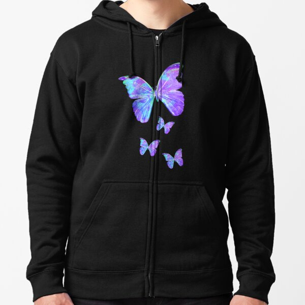 Purple Butterflies by Jan Marvin Zipped Hoodie