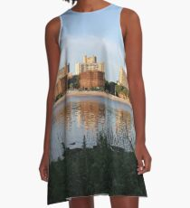 New York City, Buildings, Water, Grass, Gulf, Nature, View, #NewYorkCity, #Buildings, #Water, #Grass, #Gulf, #Nature, #View A-Line Dress