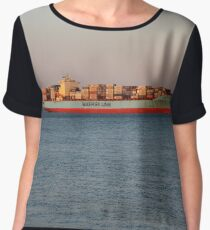 New York City, ship, container ship, water, #NewYorkCity, #ship, #ContainerShip, #water Chiffon Top