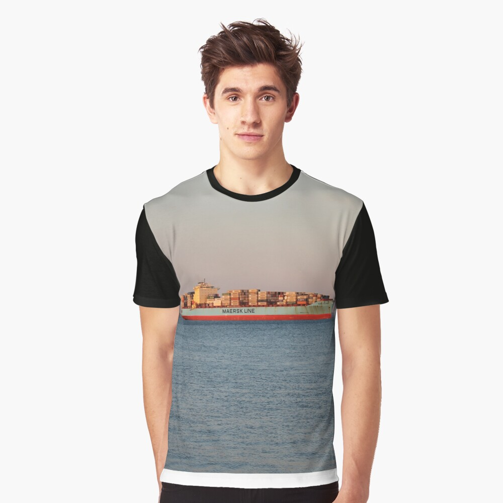 New York City, ship, container ship, water, #NewYorkCity, #ship, #ContainerShip, #water Graphic T-Shirt Front