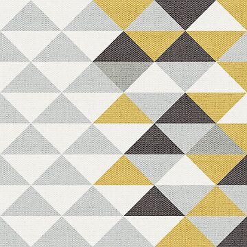 Triangle Navy Gray Cream and Yellow Pattern with Texture by RecoveryGift