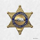 County of Los Angeles Sheriff's Department - LASD Deputy Sheriff Badge over White Leather by Serge Averbukh